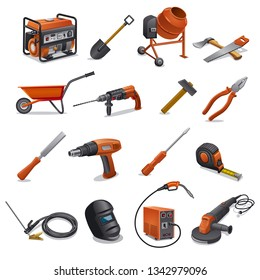 illustration of the construction tools and equipment