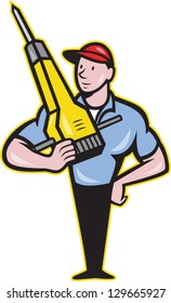 Illustration of a construction worker with jack hammer pneumatic drill done in cartoon style.