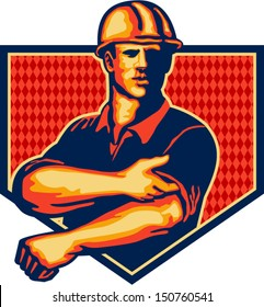 Illustration of a construction worker wearing hardhat rolling up sleeve facing front set inside shield done in retro style