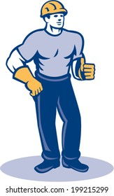 Illustration of a construction worker wearing hardhat standing thumbs up facing front done in retro style.