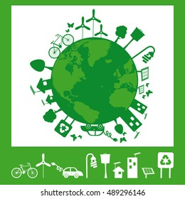 Illustration containing several elements of sustainability for a living environmentally friendly