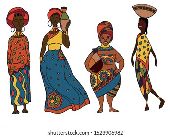 The illustration contains an image of African women in different ethnic outfits.