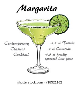 illustration of Contemporary Classics margarita on chalk-board