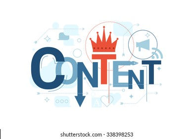 Illustration of content word typography in blue theme with red accent