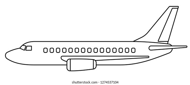 Illustration of the contour aeroplane side view