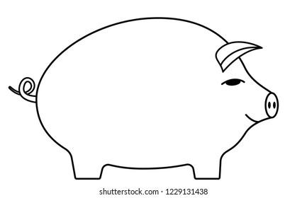 Illustration of the contour cartoon pig