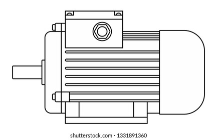 Illustration of the contour electric motor side view