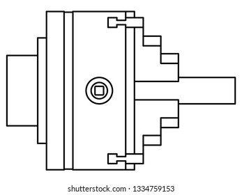 Illustration of the contour lathe chuck side view with shaft