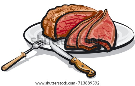 illustration of cooked roast beef meat on plate