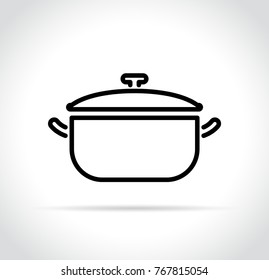 Illustration of cooking pot icon on white background