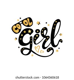 Illustration of Cool Girl text for boys clothes royal badge tag icon inspirational. Slogan kids print for t shirt or other uses t shirt graphics textile graphic