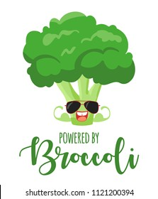 Illustration of a cool muscle broccoli wearing sunglasses. Powered by Broccoli. Vegan T shirt print