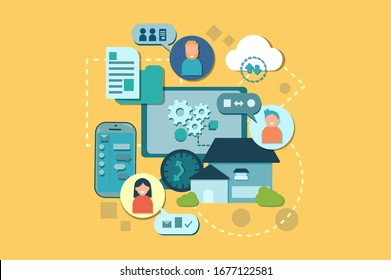 illustration with copy space of home working or work from home or social distancing in blue yellow tone color. flat design of digital and cloud technology use for distance working.