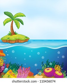 illustration of coral in water and palm tree on island