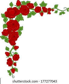 Illustration of a Corner Border Featuring Red Roses
