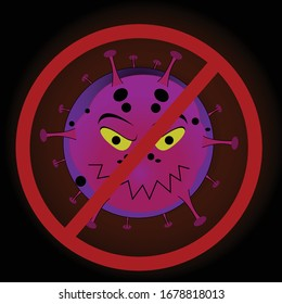 An illustration of Corona Virus with stop sign