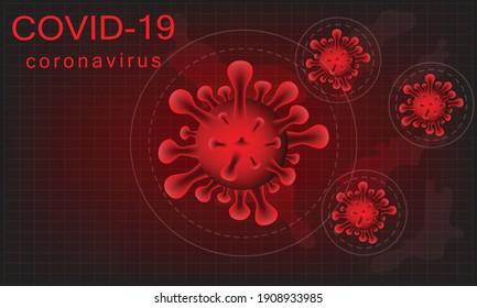 Illustration of  Coronavirus in red background