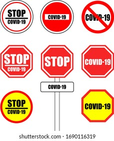 Illustration coronavirus/covid-19 stop signal. Vector.