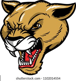 Illustration of a cougar with sharp fangs.