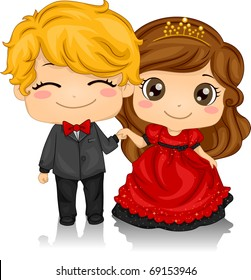 Illustration of a Couple Attending a Valentine Ball
