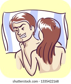 Illustration of a Couple in Bed with the Man with Painful Ejaculation
