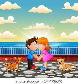 Illustration of Couple cartoon kissing on the bridge