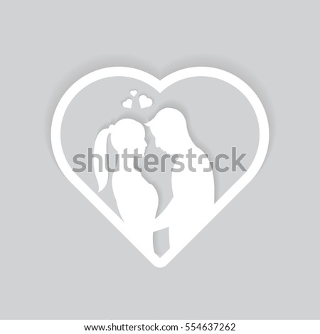 Illustration Couple Heart Frame Vector Male Stock Vector (Royalty ...