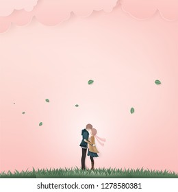 Illustration of couple kissing on pink background with green grass.