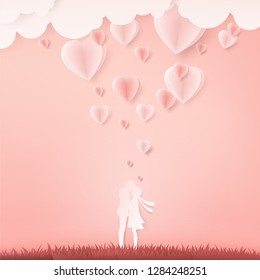 Illustration of couple kissing on pink background with green grass,Origami style.