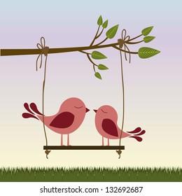 Illustration of couple in love,  birds in love, vector illustration
