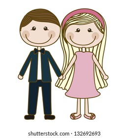 Illustration of couple in love, dating, vector illustration
