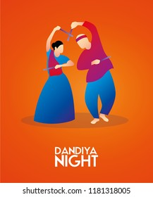 illustration of couple playing Dandiya in Beautiful Orange poster for Navratri Dussehra festival of India