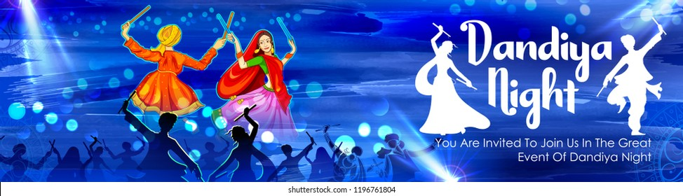 illustration of couple playing Dandiya in disco Garba Night poster for Navratri Dussehra festival of India