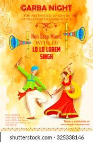 illustration of couple playing Dandiya in disco Garba Night poster