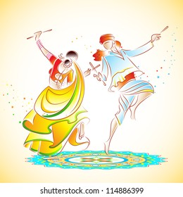 illustration of couple playing dandiya on rangoli
