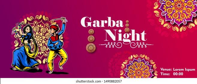 Illustration of couple playing Garba and Dandiya in Navratri Celebration and disco, Garba Night poster for Navratri Dussehra festival of India