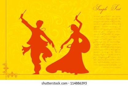 illustration of couple playing garba on Navratri