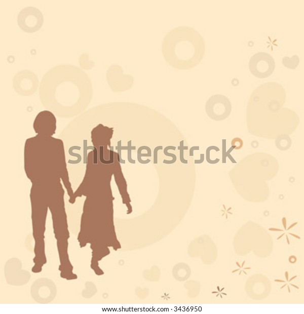 illustration with couple silhouettes on a retro background