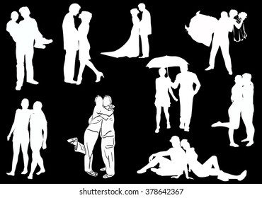 illustration with couples isolated on black background