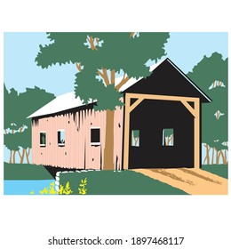 An illustration of covered bridge in America.