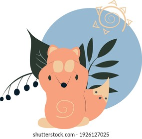 Illustration of covering eyes fox with leaves and berries and sun in sky blue circle