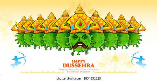 illustration of Covid Ravana with ten heads of Corona virus for Navratri festival of India poster for Dussehra