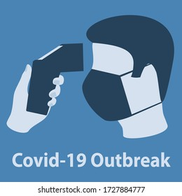 Illustration Covid-19 Outbreak. Body Temperature Check Sign.