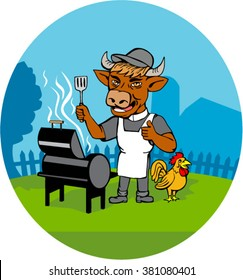 Illustration of a cow barbecue chef holding spatula wearing a minister clerical collar, hat  and apron with grill or smoker and chicken rooster on side set inside oval shape done in caricature style