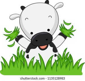 Illustration of a Cow Holding Grass and Happy