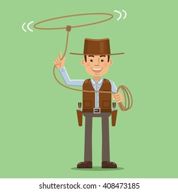 Illustration of a cowboy with lasso. Cheerful cowboy twists rope, isolated on abstract background. Simple style vector illustration