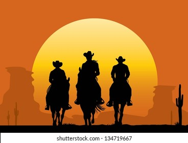 Illustration of cowboys riding horse at sunset