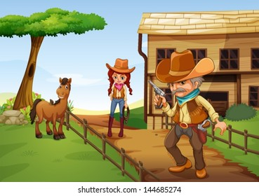 Illustration of a cowgirl and an armed cowboy near the barnhouse