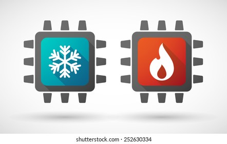 Illustration of a CPU icon set with fire and ice signs