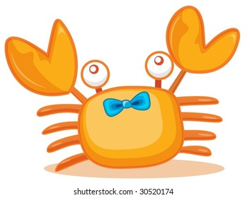 Illustration of crab with blue bow
